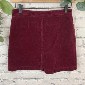 F21 wine colored corduroy mini skirt